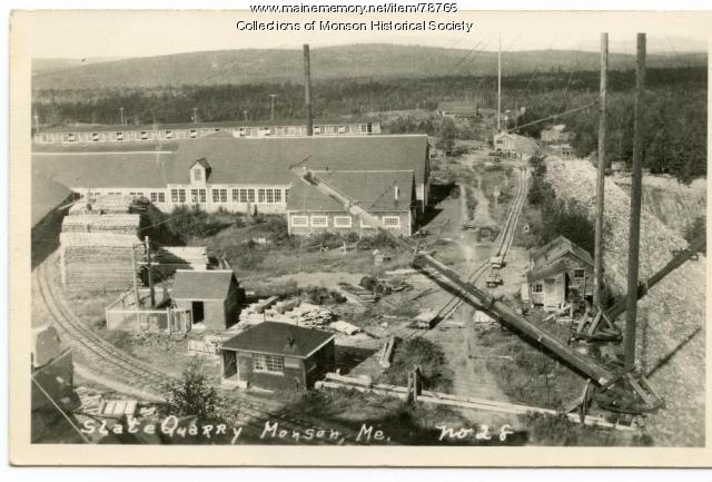 Aerial view of slate quarry, Monson, ca. 1890