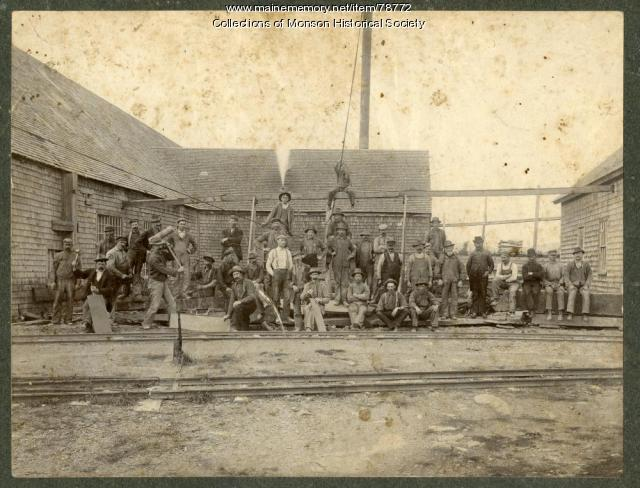 Slate Quarry workers in front of mill, Monson, ca. 1890