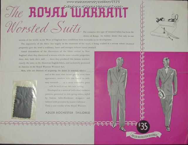 Royal Warrant suits advertising brochure ca. 1930