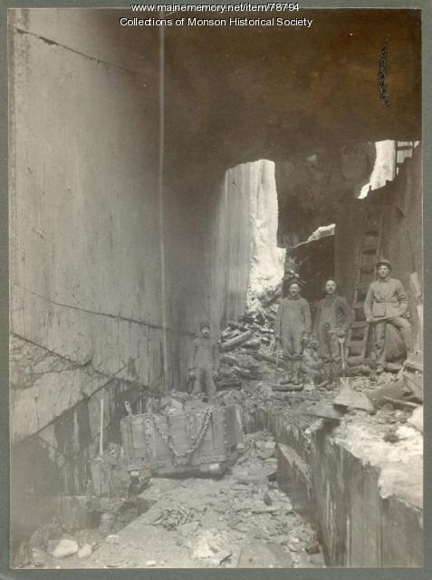 Slate Quarry in winter, Monson, ca. 1890