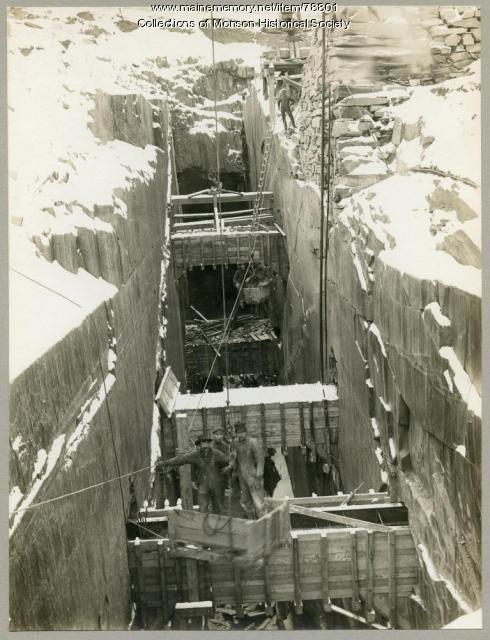 Winter Slate Mining, Monson, ca. 1910