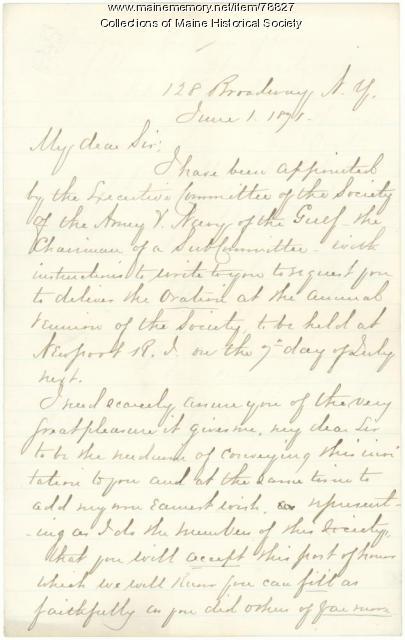 Invitation to G.F. Shepley to speak at reunion, New York, 1871