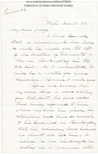 Hannibal Hamlin plea for son's appointment, Washington, 1871