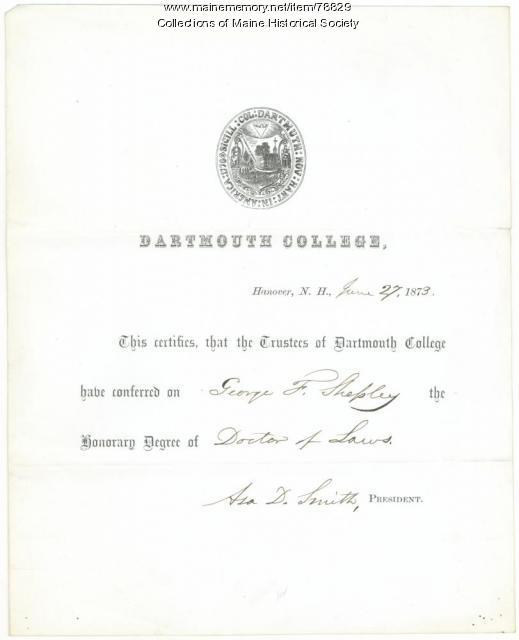 George F. Shepley honorary degree, 1873