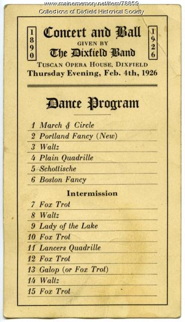 Tuscan Opera House Dance Program, Dixfield, February 4, 1926