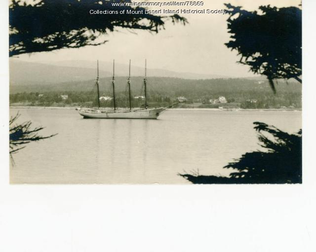 Vista with a four-masted schooner, Southwest Harbor, ca. 1935