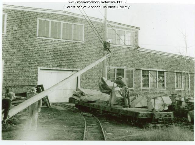 Unloading slate, Monson, ca. 1920