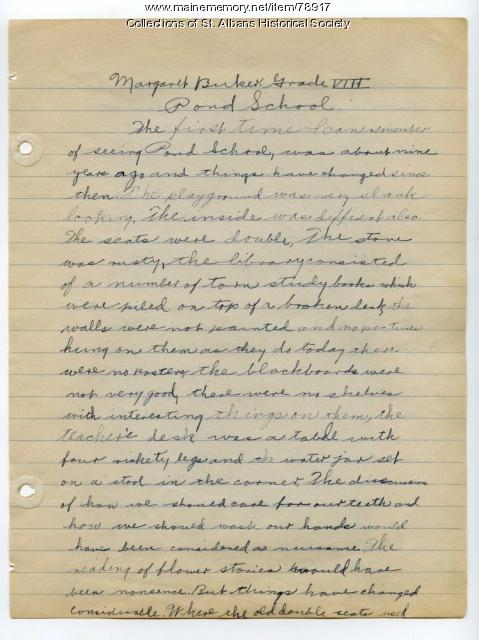 Margaret Buker Essay on Pond School, St. Albans, 1925