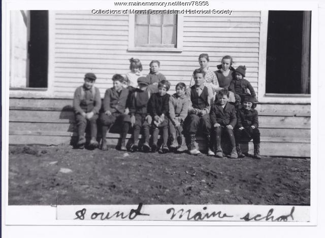 Somes Sound Schoolhouse, with students on front steps, ca. 1909