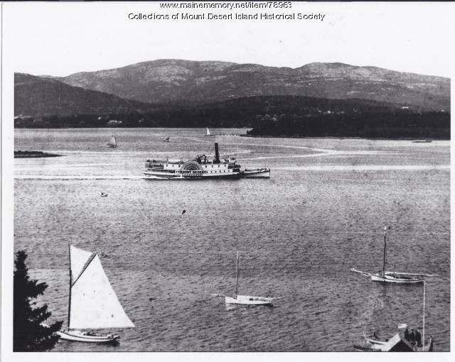 """Steamship """"Mount Desert,"""" leaving Southwest Harbor, ca. 1900"""