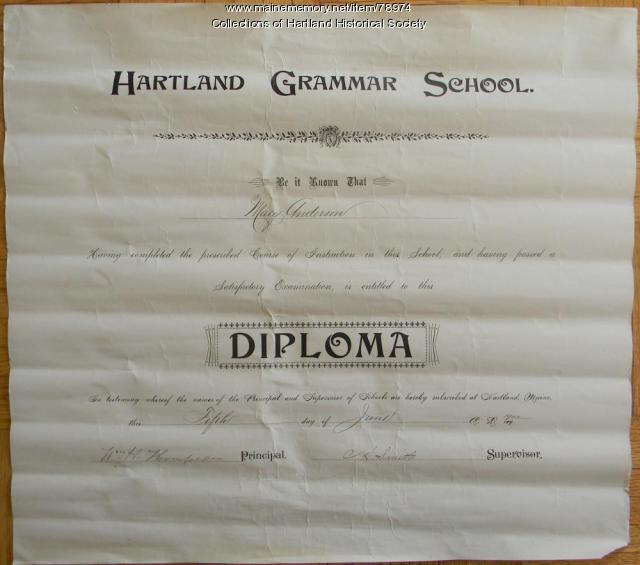 Hartland Grammar School diploma, 1902