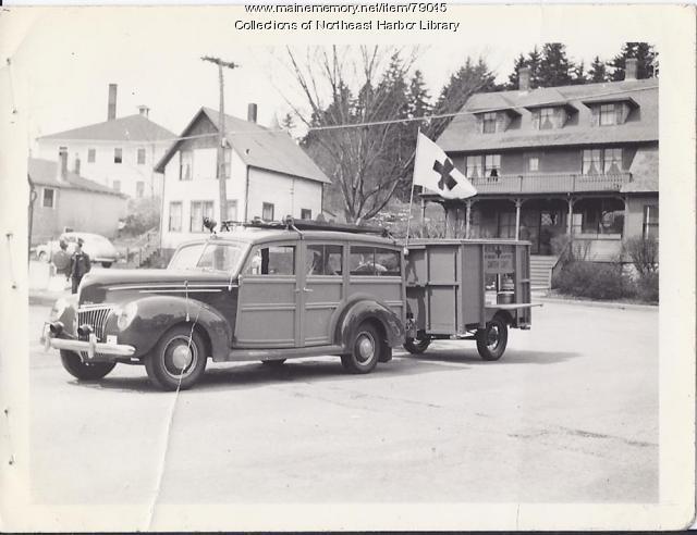 Red Cross Car and Trailer, Main Street, Northeast Harbor, 1947
