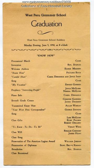 West Peru Grammar School Graduation program, 1950