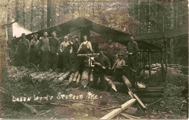 Portable Sawmill at Laken Woods, Stetson, ca. 1905
