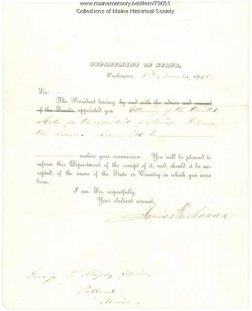 G.F. Shepley appointment as U.S. Attorney, 1848