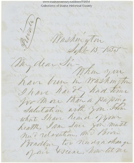 Franklin Pierce invitation to G.F. Shepley, 1855
