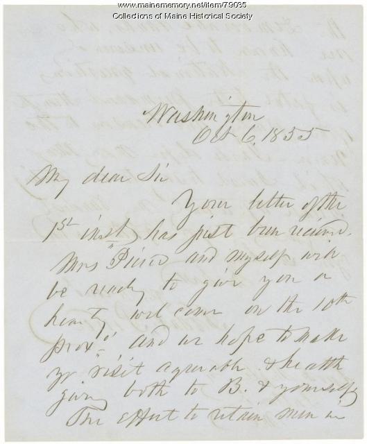 Franklin Pierce letter to G.F. Shepley, Washington, 1855