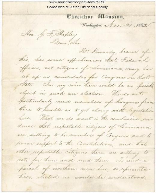 Lincoln letter on Louisiana elections, Washington, 1862