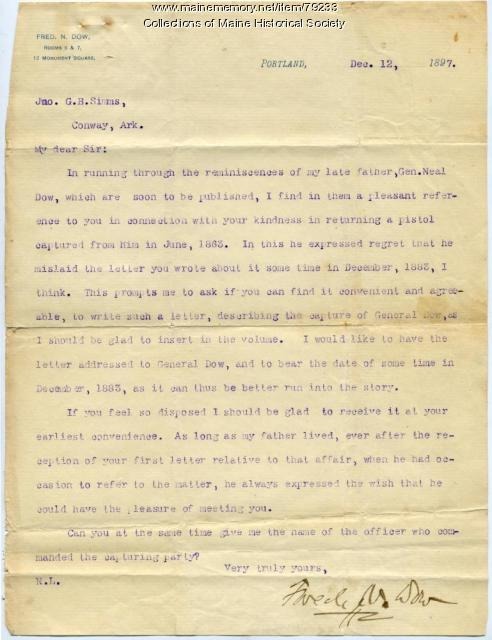 Fred Dow letter on account of father's capture, Portland, 1897