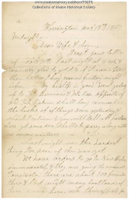 Pvt. John Foster to wife, Florida, 1863
