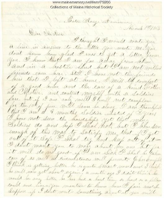 Sgt. Titcomb to mother, Baton Rouge, 1863