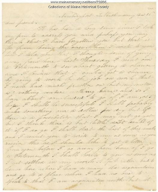 James L. Hunt on changing jobs, Newburyport, 1845