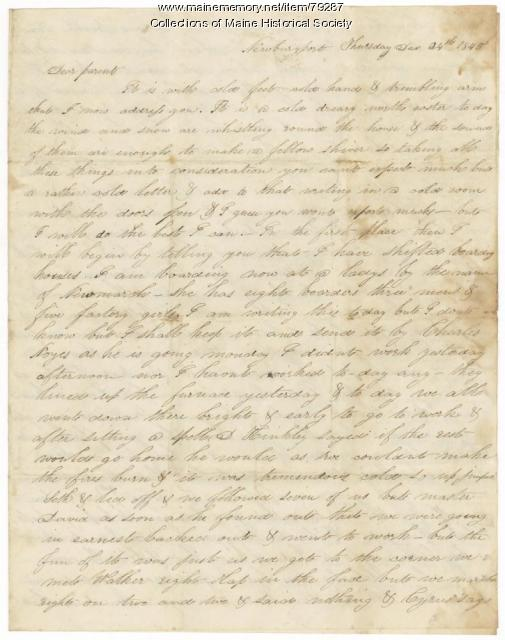 James L. Hunt to parents, Newburyport, 1845