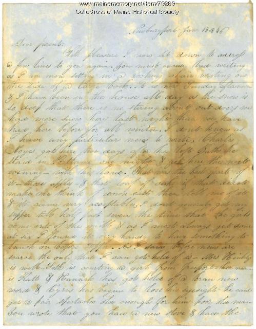 James L. Hunt letter on wintry Newburyport, 1846