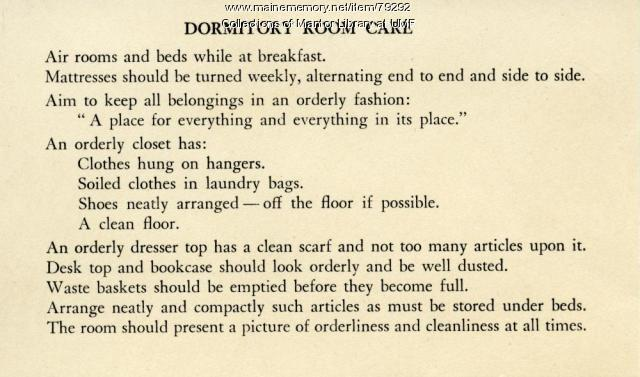 Rules For Dormitory Rooms, Farmington State Normal School, ca. 1945