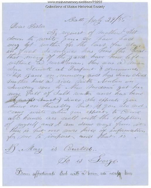 Robert Hunt to sister on family news, Bath, 1856