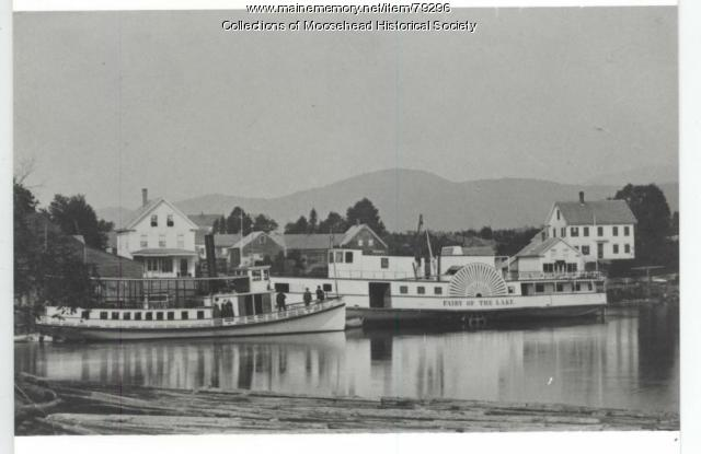 "Steamboats ""Rebecca"" and ""Fairy of the Lake,"" Moosehead Lake, ca. 1890"