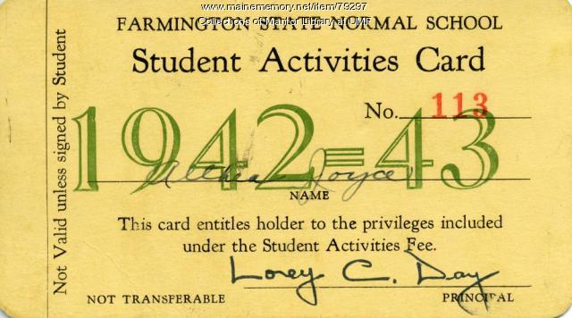 Student Activities Card, Farmington State Normal School, 1942