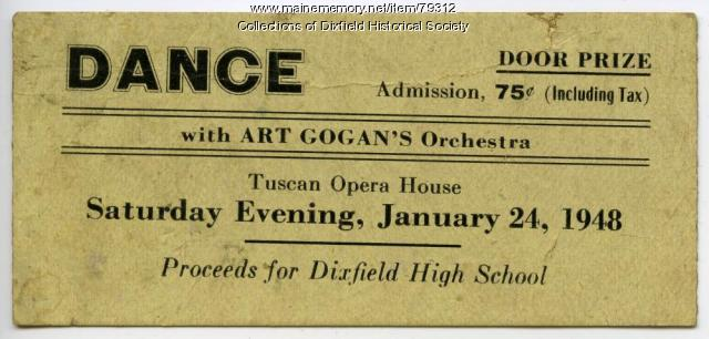 Dance Ticket, Tuscan Opera House. 1948