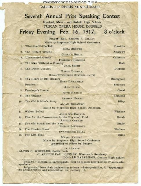 Seventh Annual Prize Speaking Contest Program, Dixfield, 1917