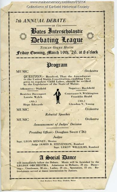 Bates Debating League annual debate program, Dixfield, 1926