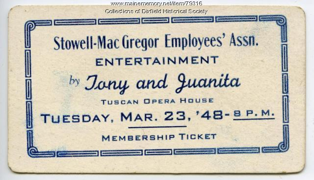 Stowell-MacGregor Dance Admission Ticket, 1948