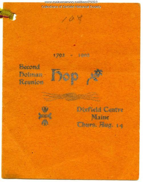 Dance Program for the Second Holman Reunion, Dixfield Centre, 1902