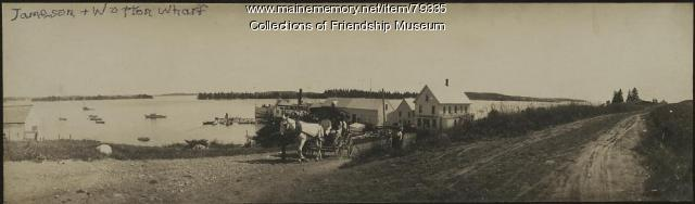 Horse-drawn carriage leaving the Jameson & Wotton Wharf, ca. 1910