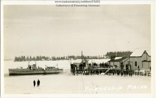 Coast Guard boat breaking through the ice, ca. 1934