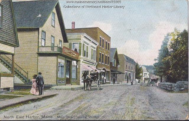Main Street looking west, Northeast Harbor, ca. 1900
