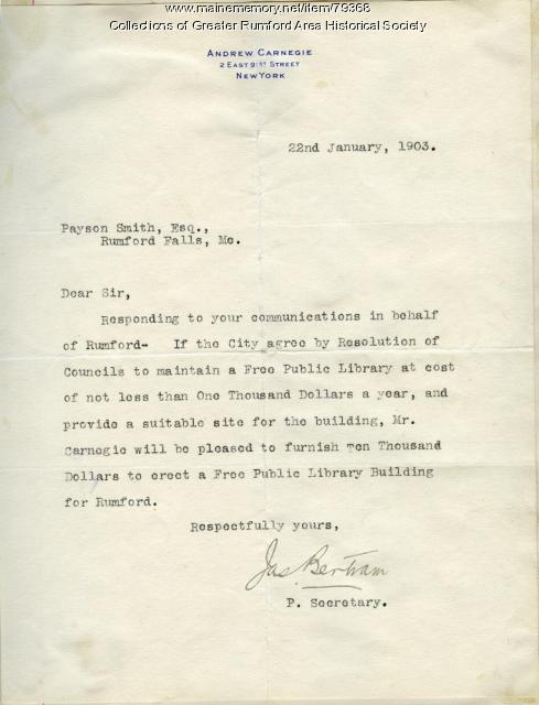 Carnegie letter establishing library gift, Rumford, 1903