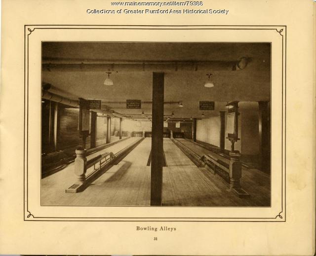 Bowling Alley, Mechanics Institute, Rumford, 1911