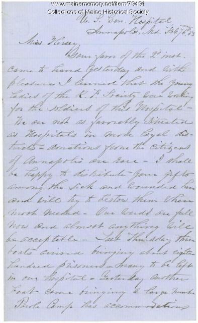 U.S. Gen. Hospital, Annapolis, to R.F. Society, Portland, 1863
