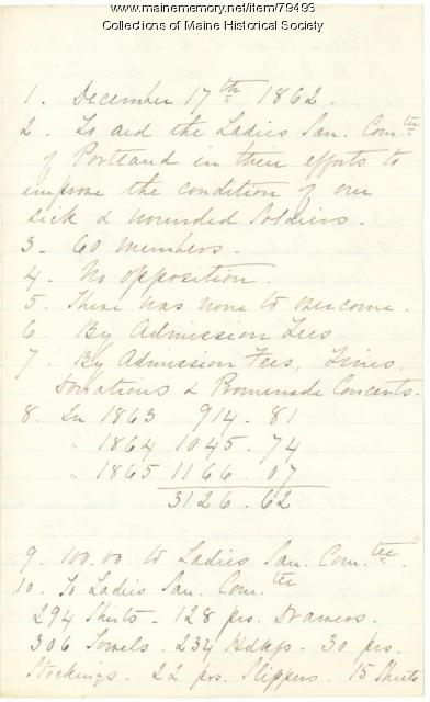 Account of items sent to soldiers, Portland, 1865