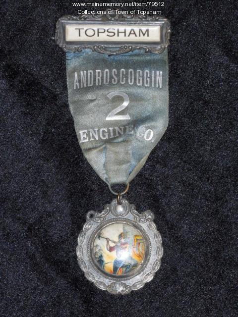 Androscoggin No. 2 Engine Company member ribbon, Topsham, 1875