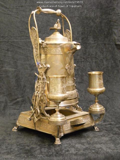 Silver tea service, Androscoggin Fire Company No. 2, Topsham, ca. 1870