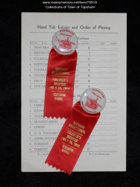 Scorecard and ribbons from hand engine muster, Topsham Bicentennial, 1964