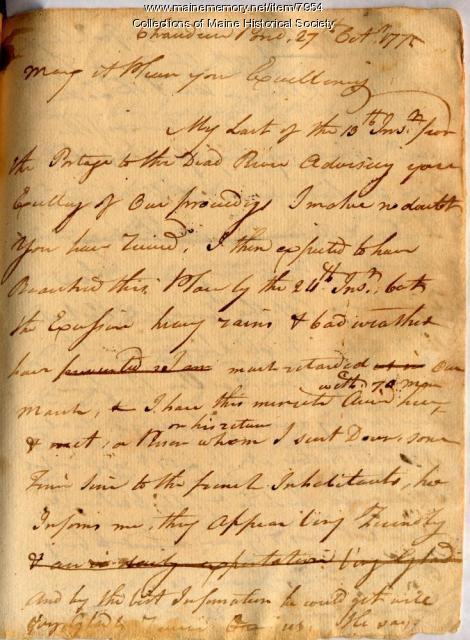 Benedict Arnold to George Washington, Oct. 27, 1775