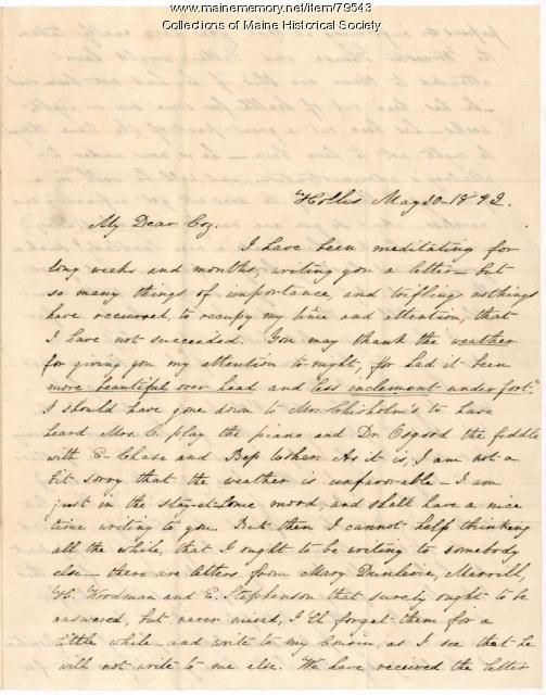 Martha Usher letter to cousin, Hollis, 1842