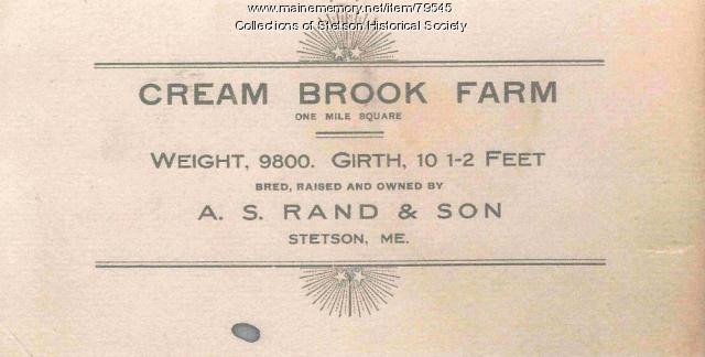 Cream Brook Farm Calling Card, Stetson, ca. 1907